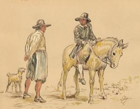 17th-century travelers depicted in a watercolor by NPS artist Sydney King