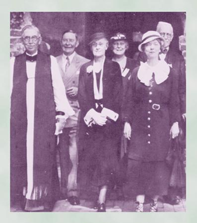 Miss Bagby in 1935 in front of the Jamestown Memorial Church