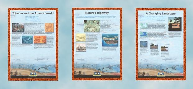 panels 4, 5, 6 of Jamestown  Chesapeake Bay Gateways Network exhibit