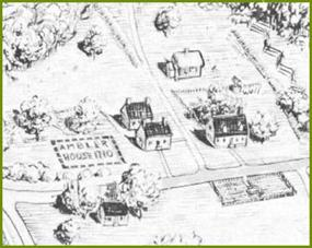 detail of conjectural sketch of colonial Jamestown by NPS artist Sydney King