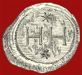 sketch of a wine seal unearthed at Jamestown