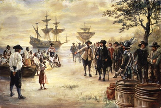 A painting shows the first Africans arriving in the colonies.