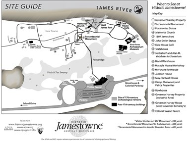 Site map showing Historic Jamestowne