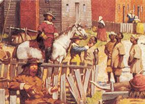 In a detail from NPS artist Keith Rocco's painting of a Jamestown waterside scene in the 1660s, newly-arrived Africans are inspected by an English settler.