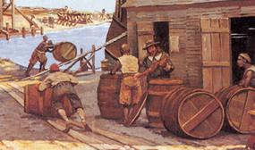 Artist Keith Rocco's interpretation of the Jamestown Wharf area in the 1660s