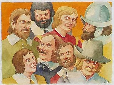 watercolor montage of early English settlers at Jamestown