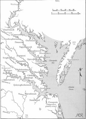 Map of the tribes in the Powhatan Paramount Chiefdom in 1607.