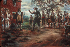 The settlers fight each other during Bacon's Rebellion.