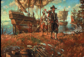 The English arriving to settle Jamestown.