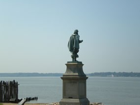 Captain John Smith statue overlooking the James River at Historic Jamestowne.