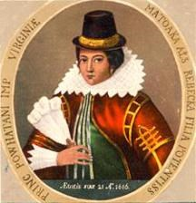 Painting of Pocahontas by Mary Ellen Howe (1994), based on Simon van de Passe's engraving of 1617.