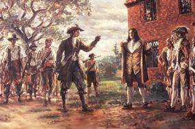 Sidney King painting of the Governor confronting Bacon and his followers demanding Bacon shoot him