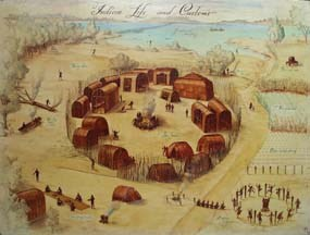 Image of a Powhatan Indian town based on a John White watercolor of other Algonquian-speaking Indians.