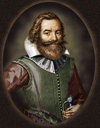 Colorized version of the Simon van de Passe engraving of Captain John Smith on his 1616 Map of New England.