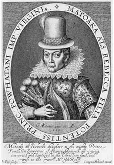 Simon van de Passe engraving of Pocahontas while she was in England.