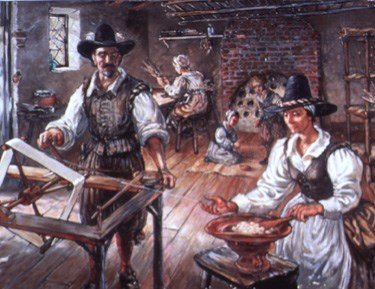 Jamestown settlers unwind silk from cocoons in a detail from NPS artist Sydney King's painting
