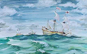 watercolor of the Susan Constant, Godspeed and Discovery on the open sea