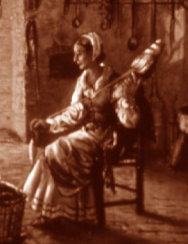 detail of NPS artist Sydney King's painting, depicting a woman spinning flax before the fire