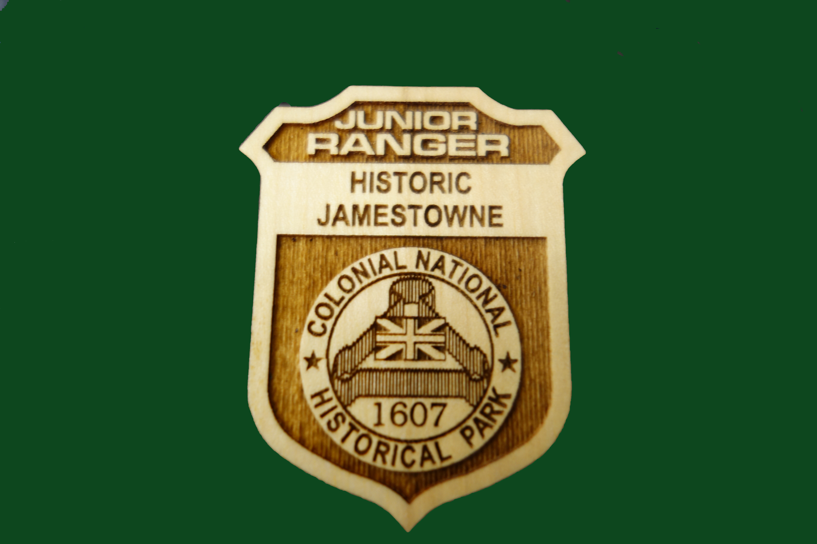 Historic Jamestowne Badge Constructed of Wood with Clip