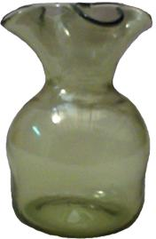 Four lipped green glass vase