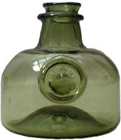 Replica of a green glass 1680's-1700 wine bottle from Jamestown