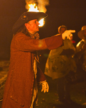 William Balderson portraying Thomas Matthew, an eyewitness to Bacon's Rebellion and the burning of Jamestown
