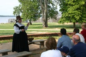 Costumed interpreter protraying Lady Yeardley