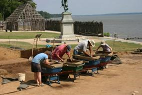 Jamestown Rediscovery archaeologist screening earth for artifacts