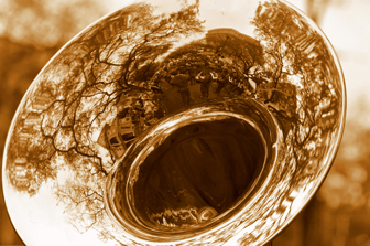 Image is a the horn of a trombone with reflections of trees, buildings, and people in it