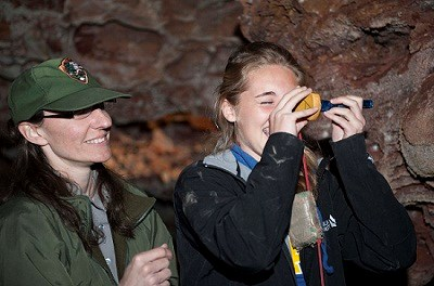 Rene Ohms - Helping Tori Dahlstrom of Custer HS Read a Clinometer - April 2013 - National Park Service resized