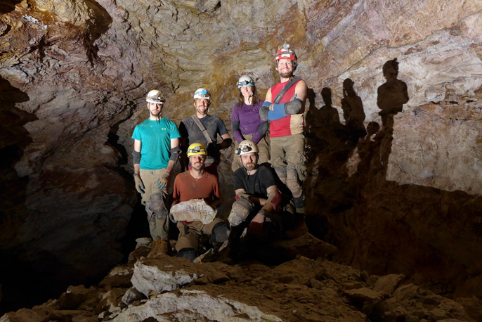 Volunteer cavers pose for a picture after they surveyed the 175-mile mark at Jewel Cave over Valentine's Day Weekend.