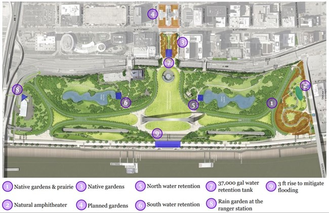 Map showing the locations of various sustainable features across the park grounds
