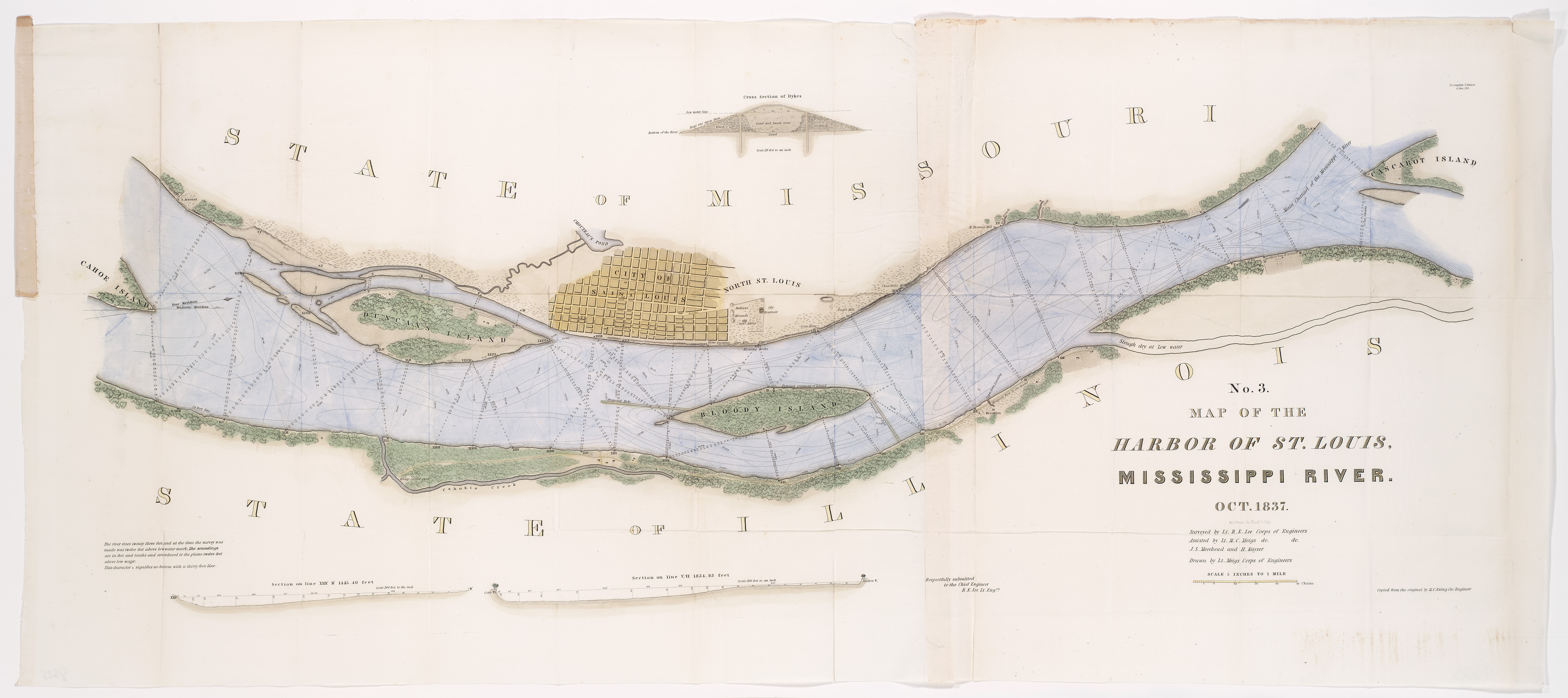 Robert E Lees Map Of The Harbor Of St Louis Jefferson - Map of us st louis