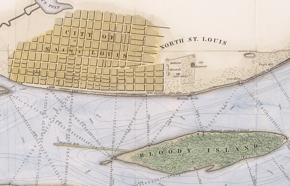 close up of the city of st. louis from the map