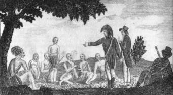 Drawing of Lewis and Clark conferring with Native Americans