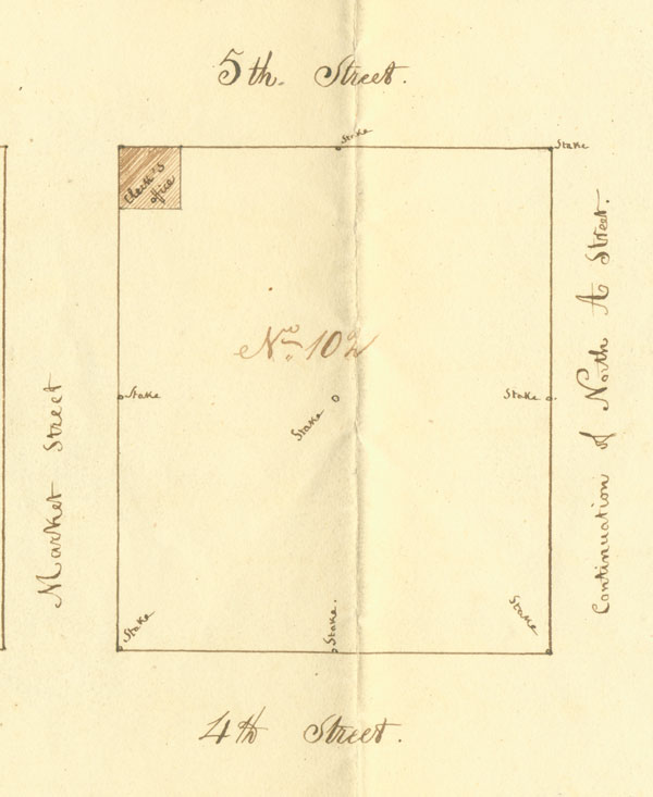 detail of the survey showing the clerk's office