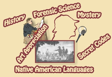 Graphic of some of the educational topics in this section such as history, forensic science, mystery, art appreciation, Native Americans Languages, and secret codes.