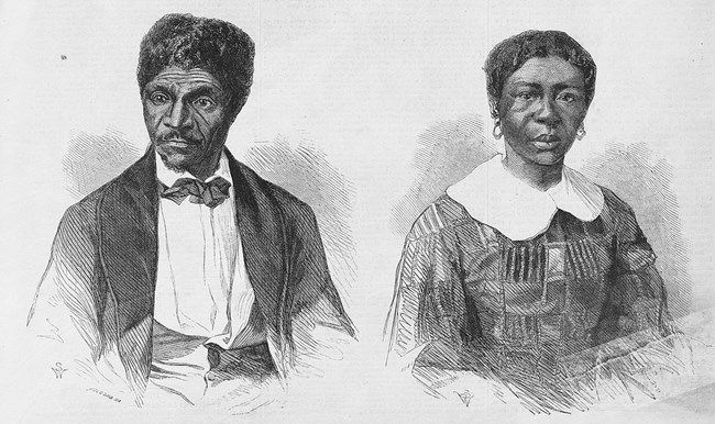 engraving of Dred and Harriet Scott