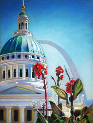 Artwork by Floyd Randall of the Arch and the Old Courthouse