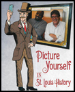 Picture yourself graphic, man in top hat with frame photo of 2 men.