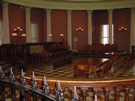 Restored courtroom in the west wingof the Old Courthouse.