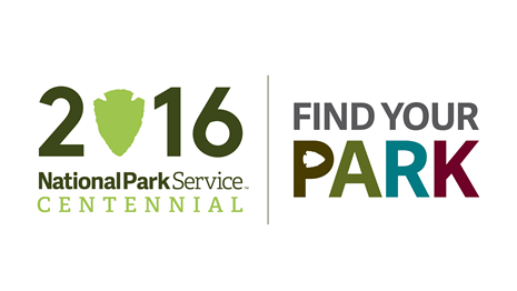 "logo of the number 2016 with an arrowhead in place of the zero, beside a color logo stating ""Find Your Park"""