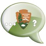 Image is green conversation balloon with National Park Service arrowhead