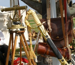 A sword, surveyor's equipment, and other items used by 1815 soldiers