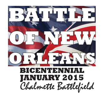 Image of American and British flags with text saying Battle of New Orleans bicentennial