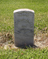A Civil War headstone with the name Lyons Wakeman on it