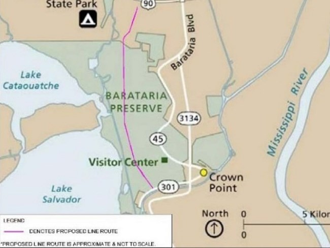 Barataria Preserve map showing electrical transmission line