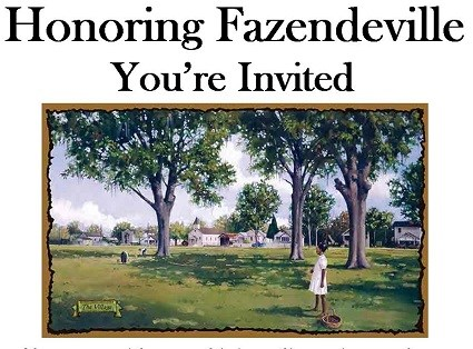 "A painting of a young girl standing under a pecan tree with houses in the background, and the text, ""Honoring Fazendeville You're Invited"""