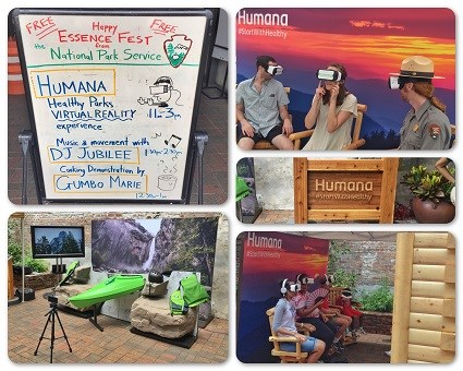 a photo collage of park visitors and park rangers wearing virtual reality headsets.