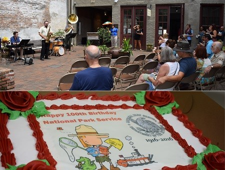 A band playing in a French Quarter courtyard and a birthday cake featuring a cartoon image of a park ranger.